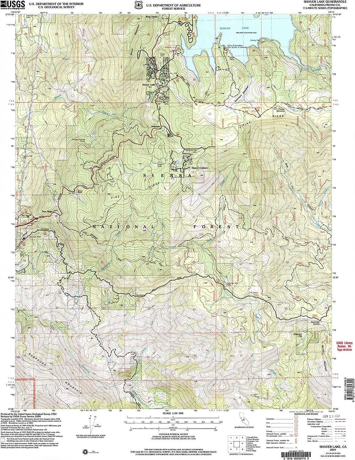 Shaver Lake CA topo map, 1 24000 Scale, 7.5 X 7.5 Minute, Historical, 2004, Updated 2007, 26.8 x 22 in