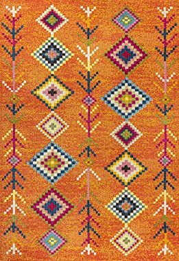 JONATHAN Y Tribal Love Geometric Area-Rugs For Bedroom And Living Room, Bohemian, Casual Orange/Multi 8 X 10