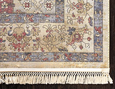 Unique Loom Del Mar Collection Abstract Over-Dyed Vintage Border Area Rug, 9 x 12 Feet, multi/beige
