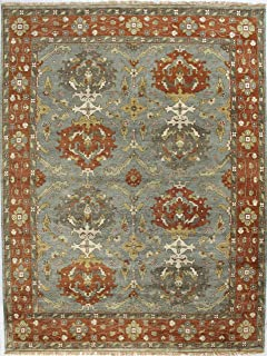 Bashian Vintage Collection HSA108 Hand Knotted 100% Wool Area Rug, 5.9' x 8.9', Slate