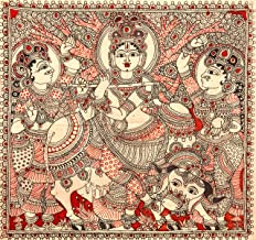 Exotic India Gopis Dancing to The Tune of Krishna's Flute - Kalamkari Painting on Cotton - Artist - Artist - D. L