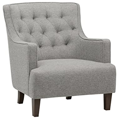 Stone & Beam Decatur Modern Tufted Wingback Living Room Accent Chair, 32.3 W, Silver