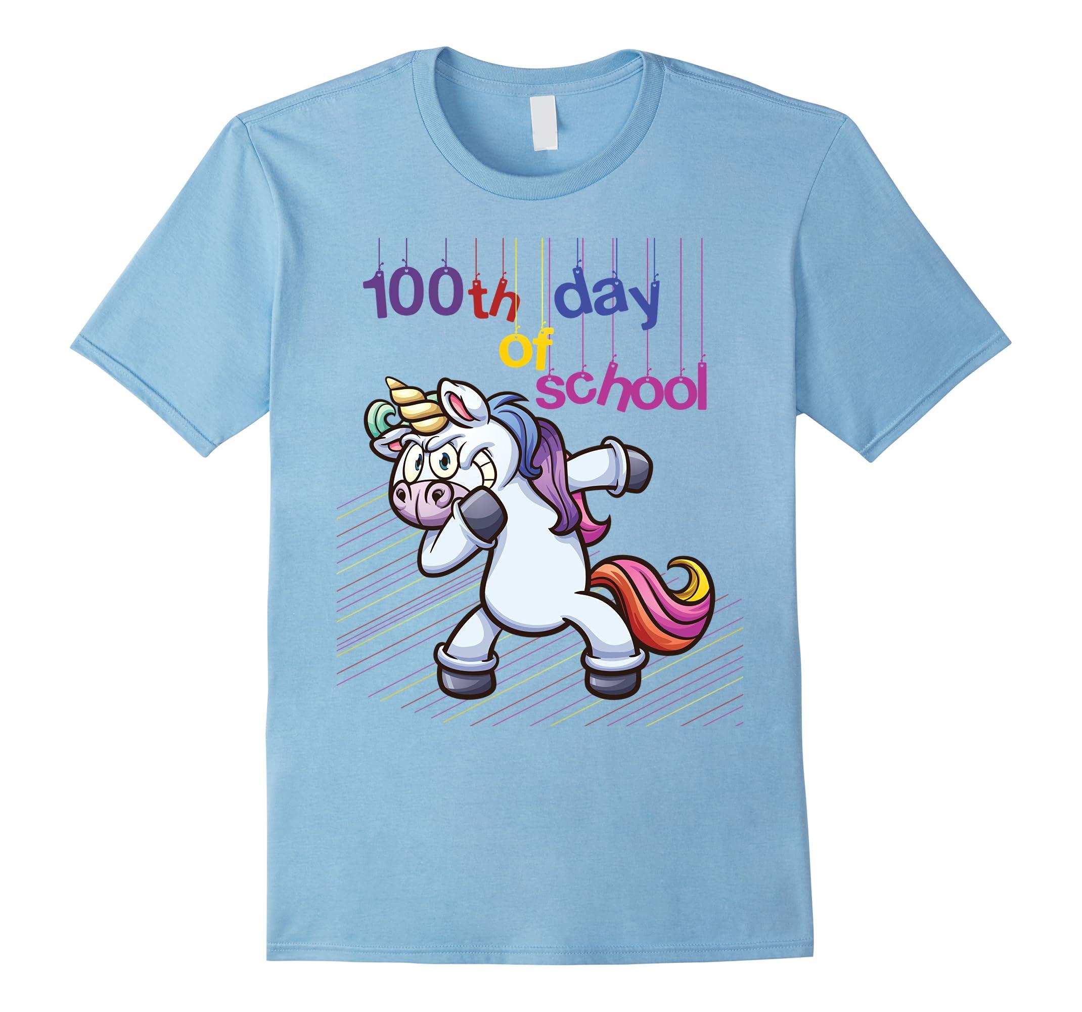 Cool Unicorn Dabbing shirt - 100th day of school-RT