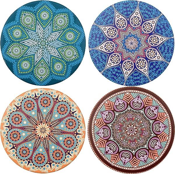 Ecoshome Absorbent Ceramic Stone Coasters For Drinks 4 Ceramic Tile Set Cork Backed Coaster For Bar Coasters Set Of 4 Mandala