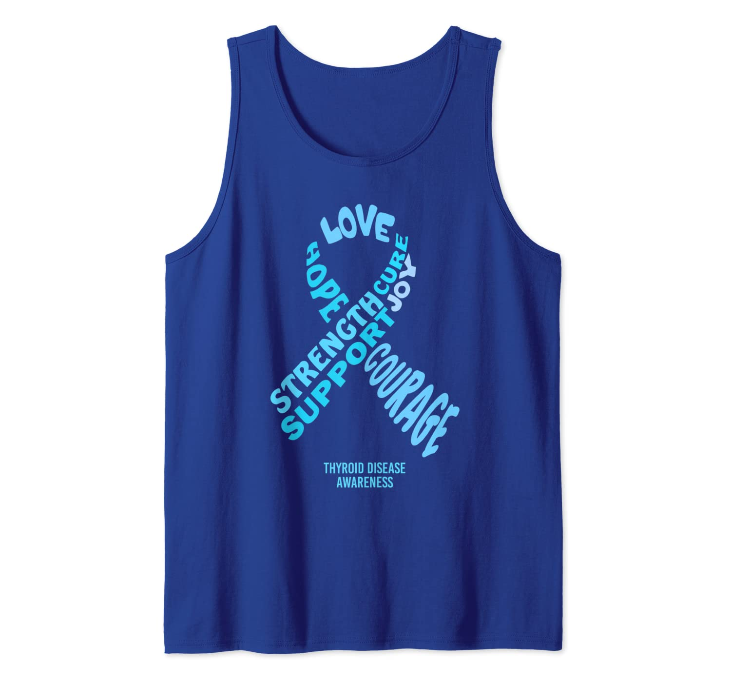 Amazon Com Thyroid Disease Awareness Ribbon With Words Tank Top