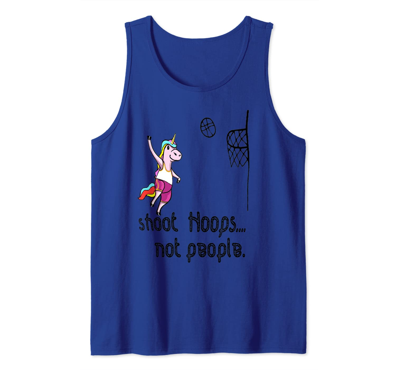 Shoot Hoops Not People Funny Unicorn Back To School Tank Top Shirts