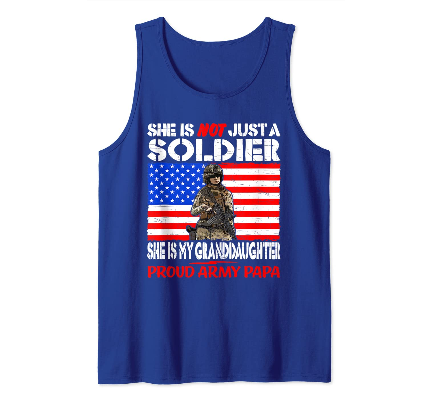Mens My Granddaughter Is A Soldier Proud Army Papa Military Gift Tank Top
