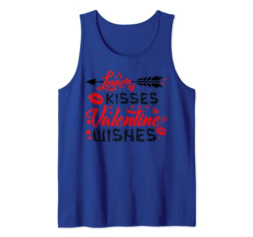 Love Kisses And Valentine Wishes Hearts Valentines Day Gift Tank Top