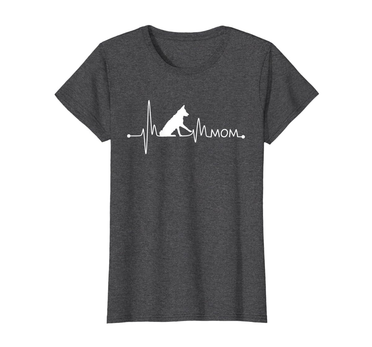 Womens Border Collie Heartbeat Mom Shirt Ekg Pulse Collie Lover Tee-Women's T-Shirt-Dark Heather