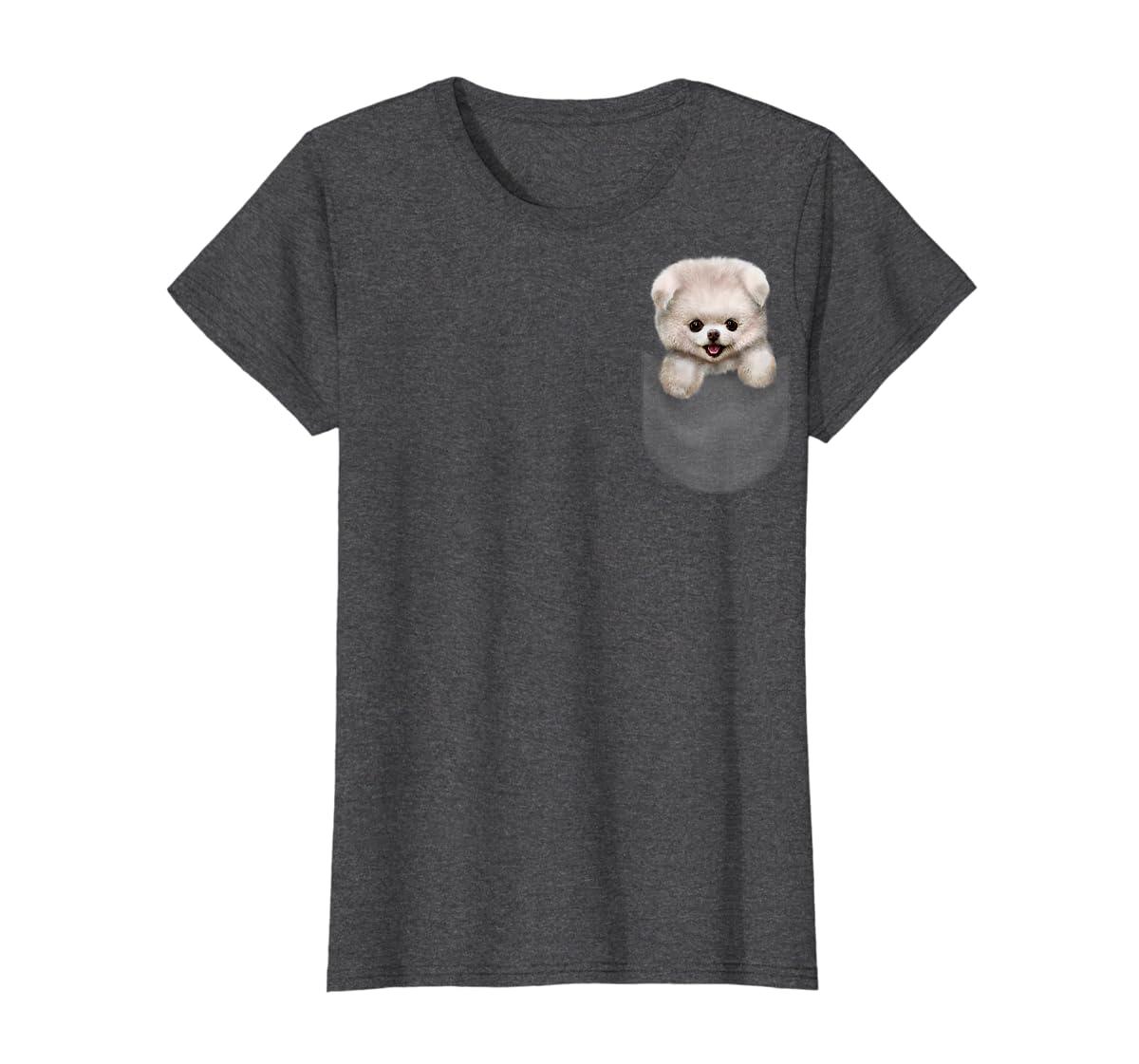 T-Shirt, Cute White Fluffy Pomeranian Puppy in Pocket, Dog-Women's T-Shirt-Dark Heather