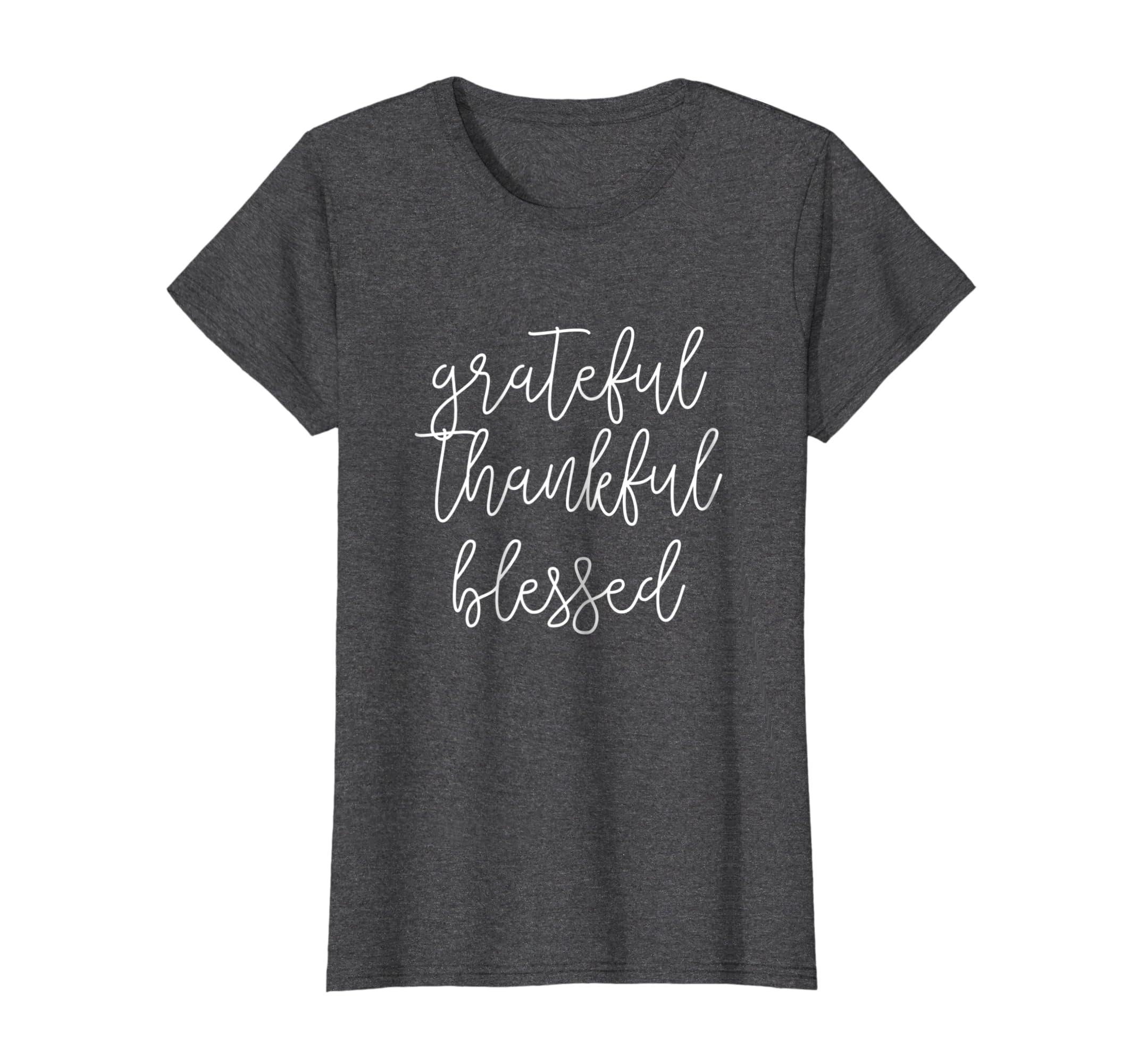 Grateful Thankful Blessed T Shirt Ladies-Bawle