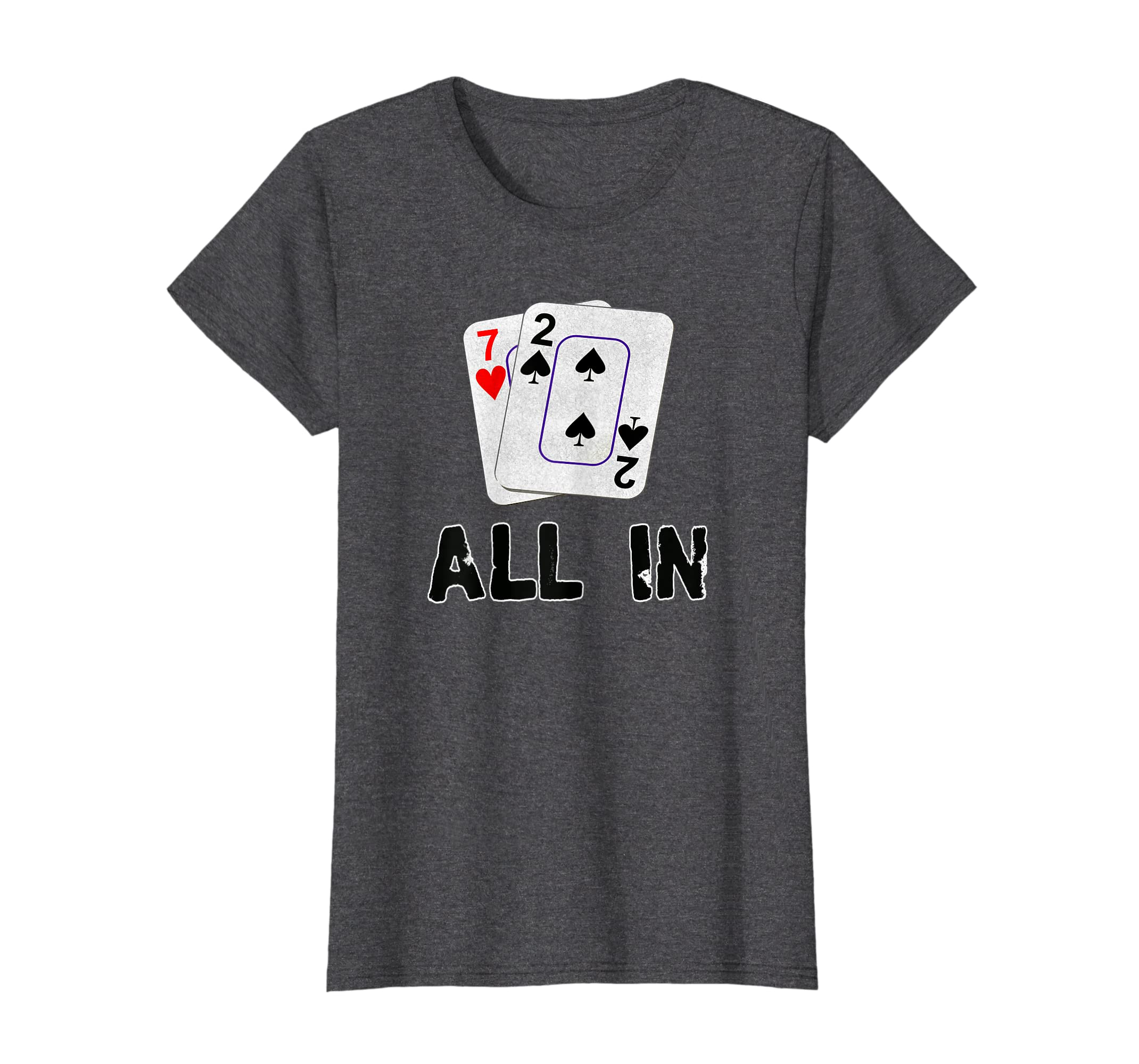 f85b443e9 Amazon.com: Seven Deuce All In Poker T Shirt - Texas Hold Em - Shove 7 2:  Clothing