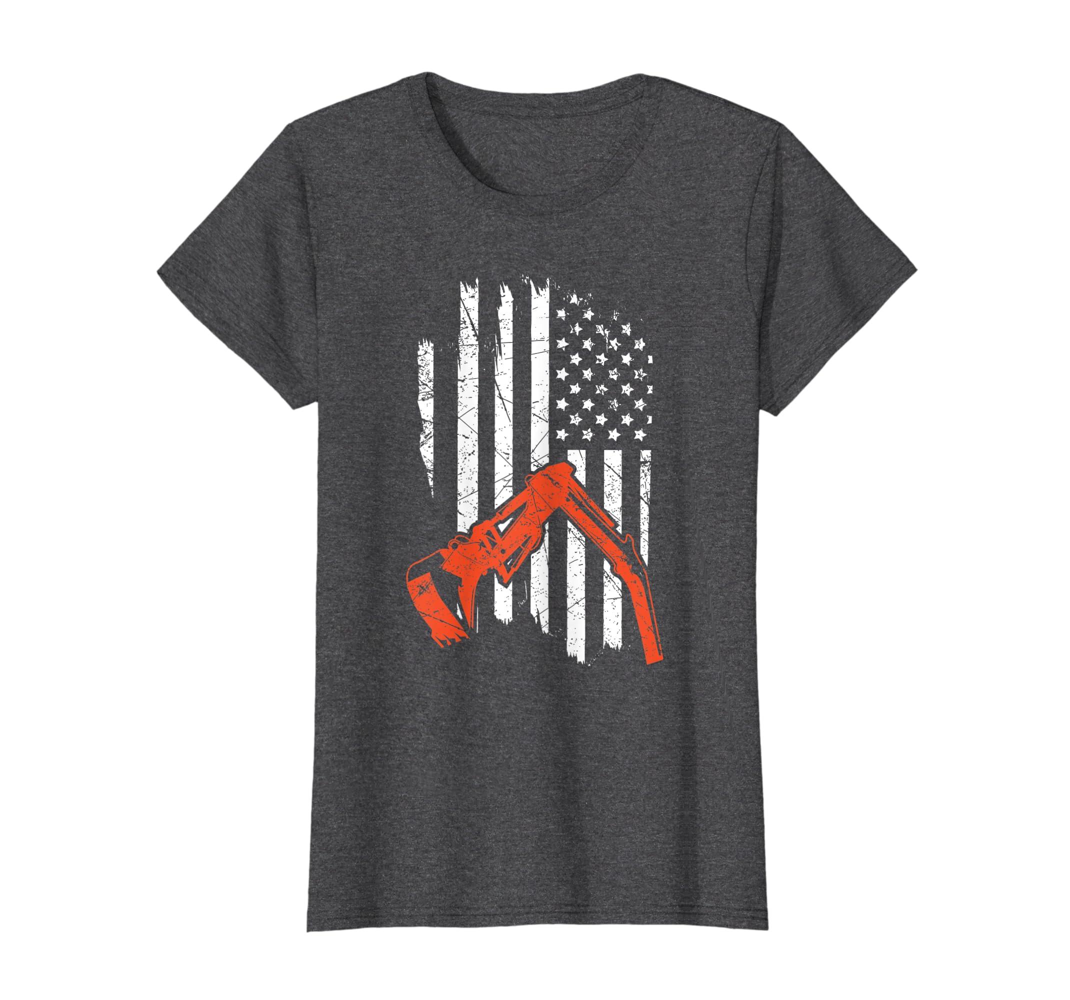 54457ec1 Amazon.com: Funny Heavy Equipment Operator Hoe Operator Usa Flag T Shirt:  Clothing
