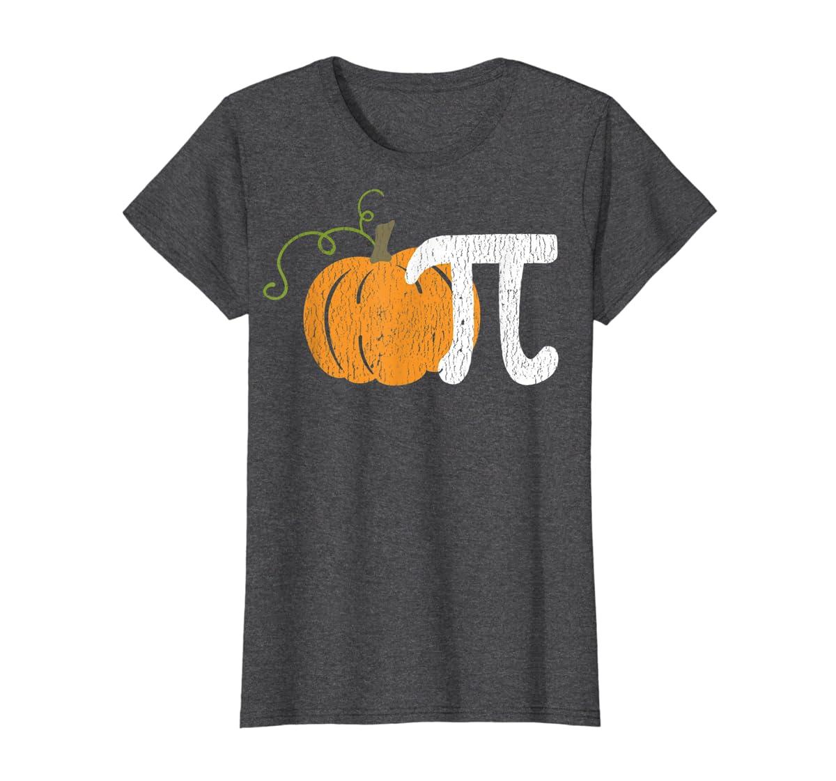 Funny Pumpkin Pie Math Teacher Halloween Pi Humor T-Shirt-Women's T-Shirt-Dark Heather