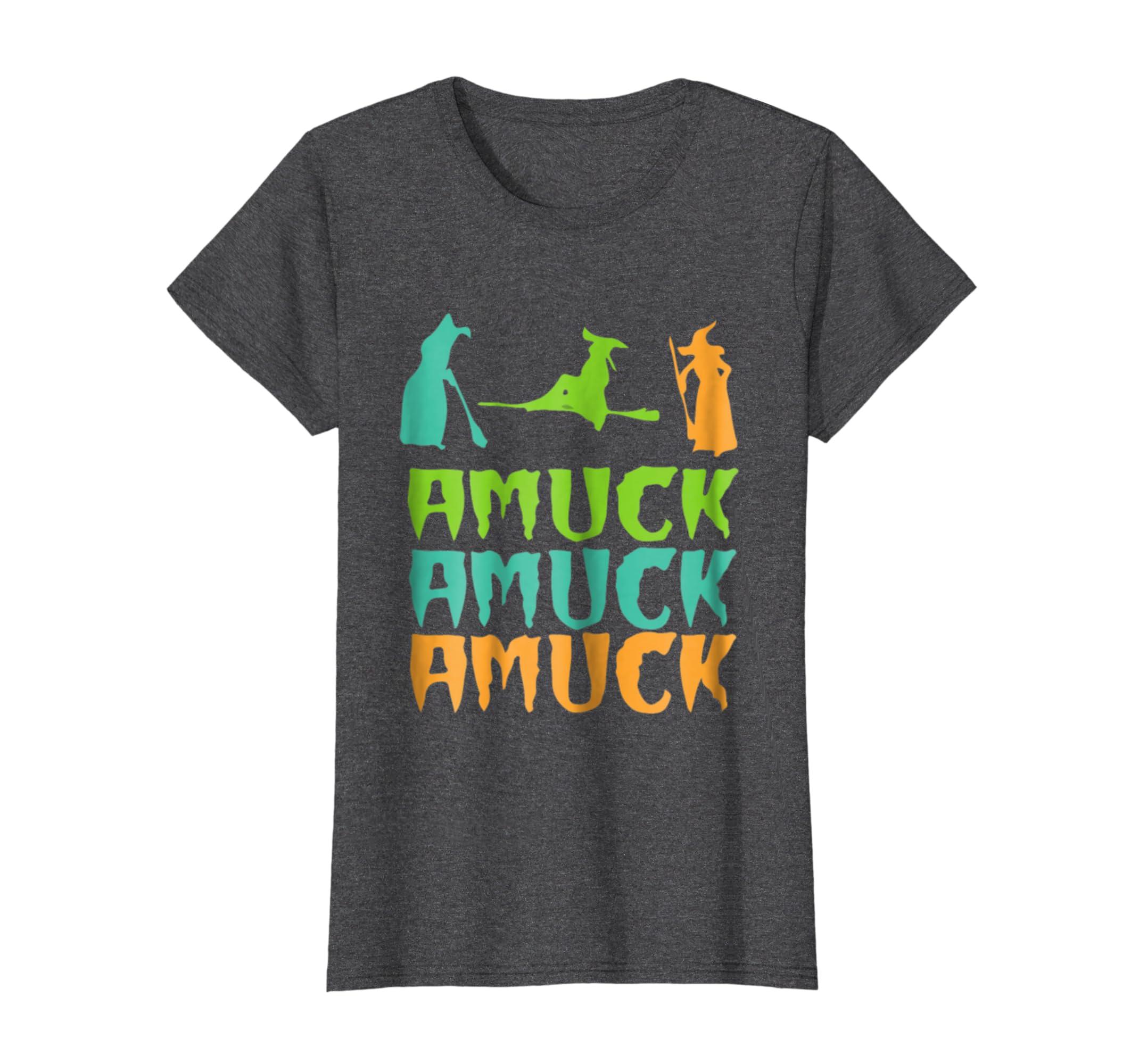 Amuck Witches T-shirt Magical Hat Bats Broomstick-Awarplus