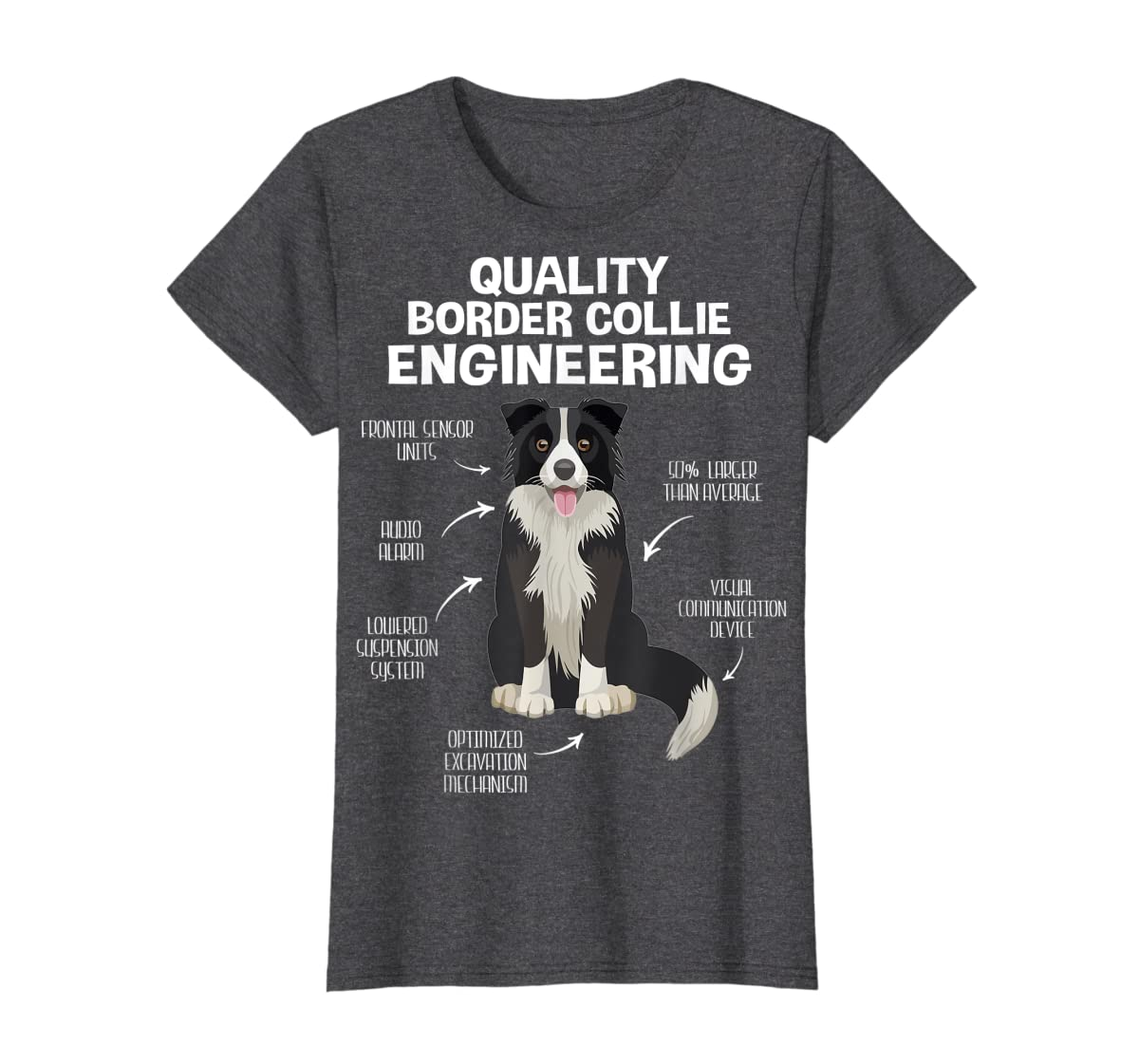 Quality Border Collie Engineering Dog Lover Gift T-Shirt-Women's T-Shirt-Dark Heather