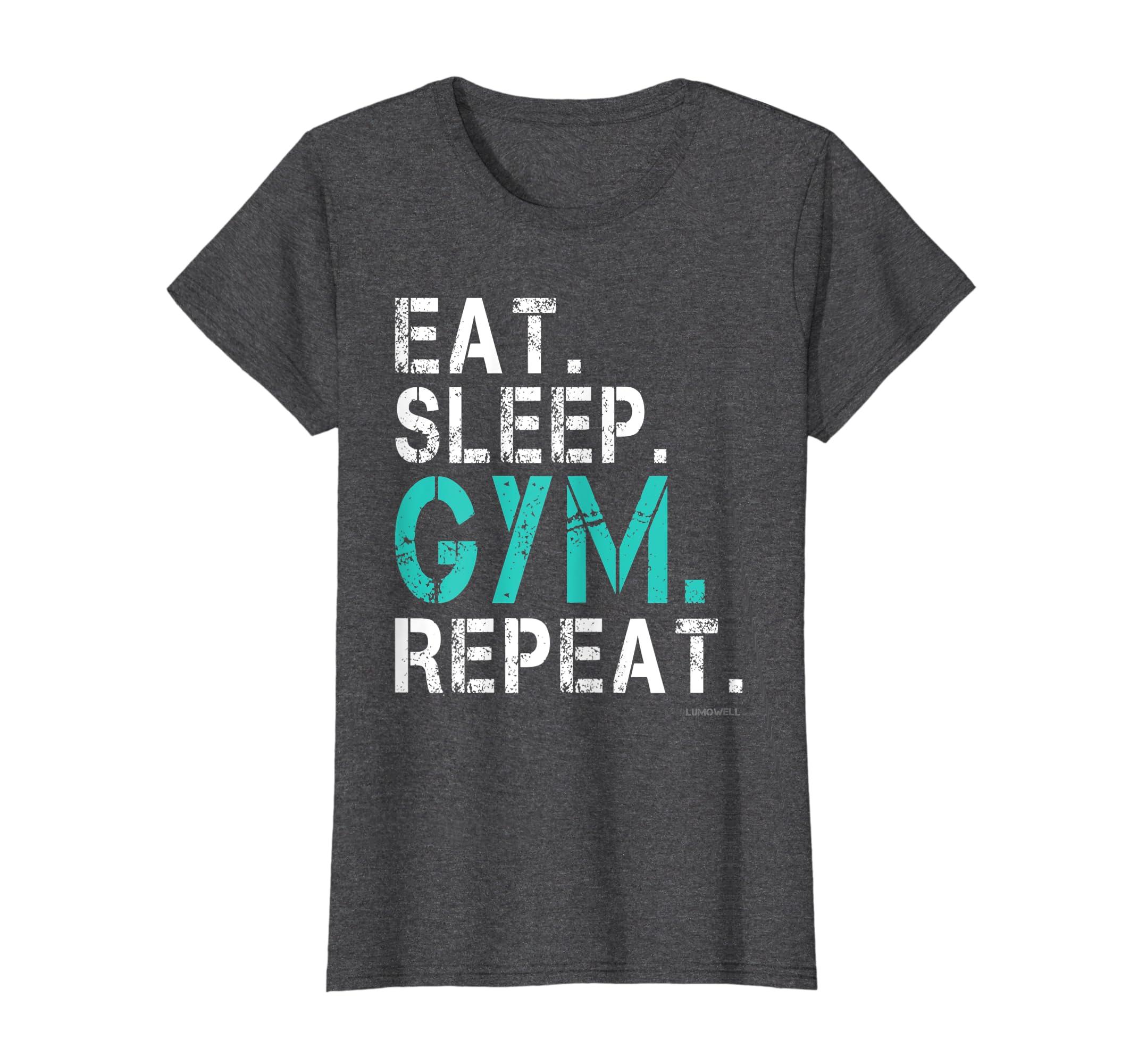 1924c9ec263 Amazon.com  Eat Sleep Gym Repeat Gym Shirt - Funny Gym T-Shirts  Clothing
