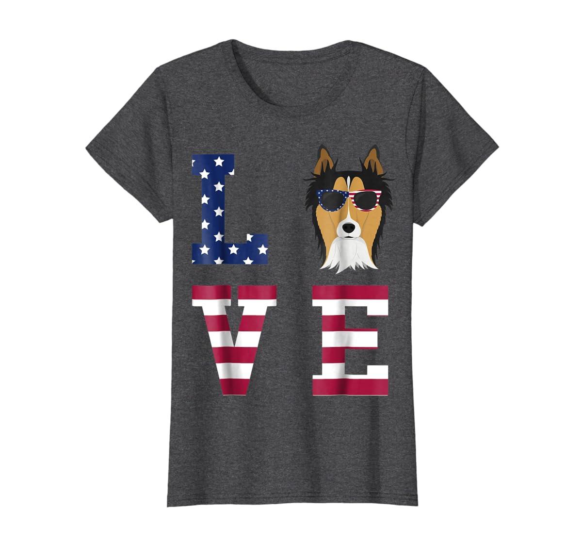 Collie Dog - 4th Of July T-Shirt-Women's T-Shirt-Dark Heather
