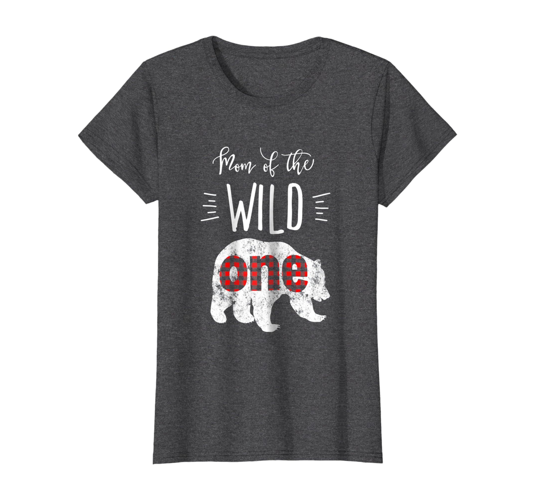 6ecc2a87d Amazon.com: Womens Mom of the Wild One Bear Lumberjack Birthday Tshirt:  Clothing