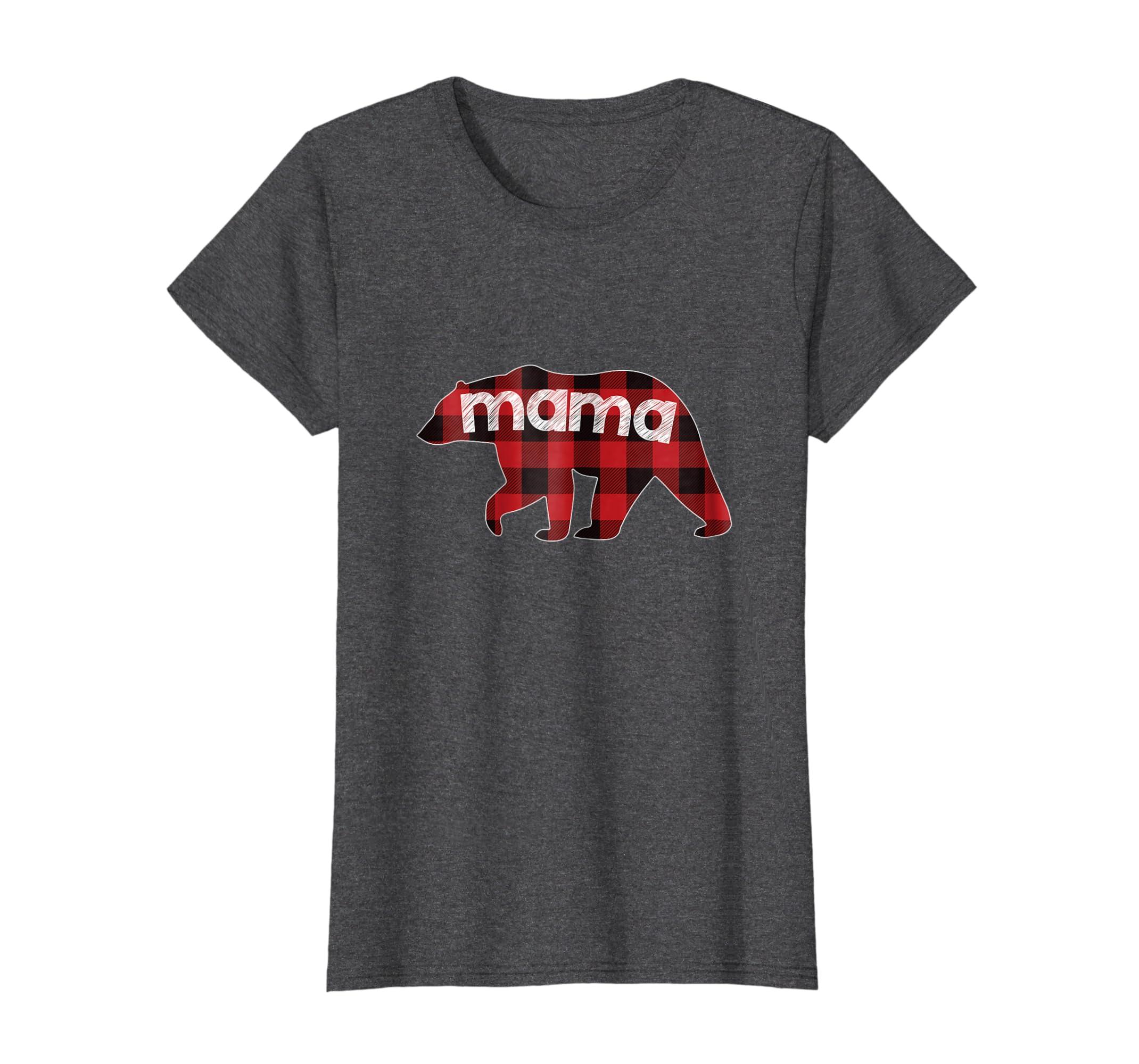 496284dc Amazon.com: Mama Bear Plaid T Shirt, Buffalo Plaid Mama Bear Family Bear:  Clothing