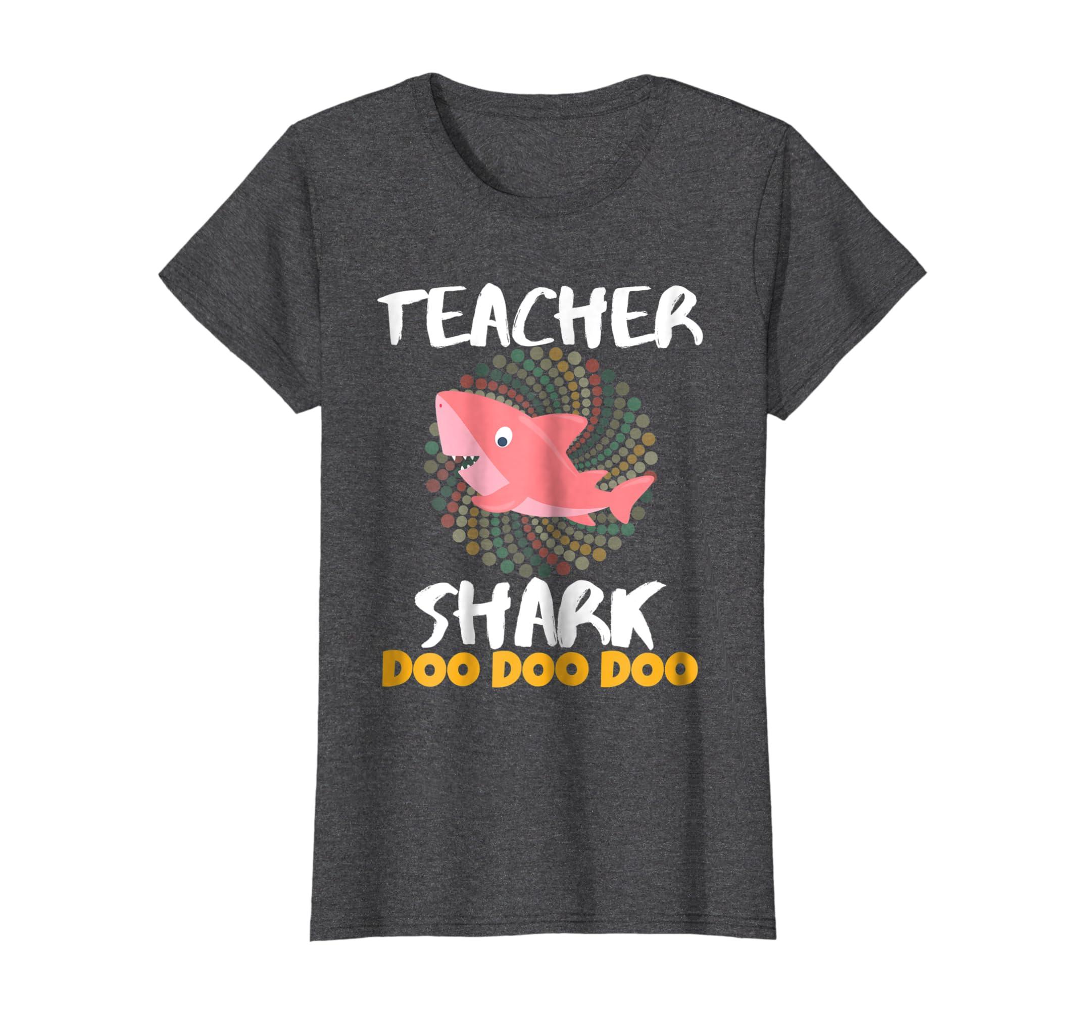 Christmas Gift Exchange Themes.Amazon Com Womens Teacher Shark Shirt Best Christmas Gift