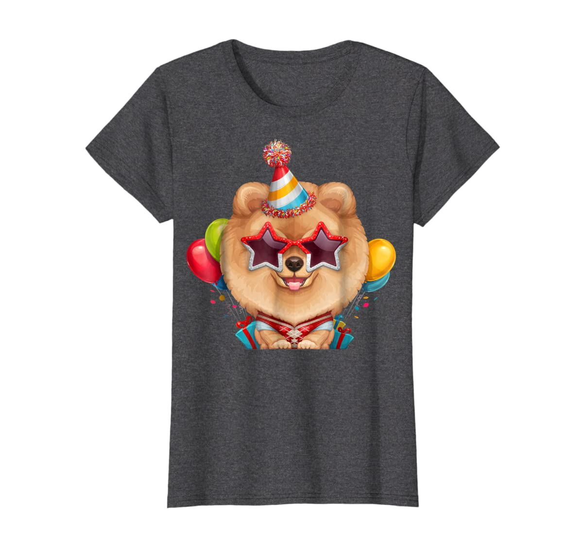 Orange Pomeranian in Glasses Birthday T-Shirt-Women's T-Shirt-Dark Heather
