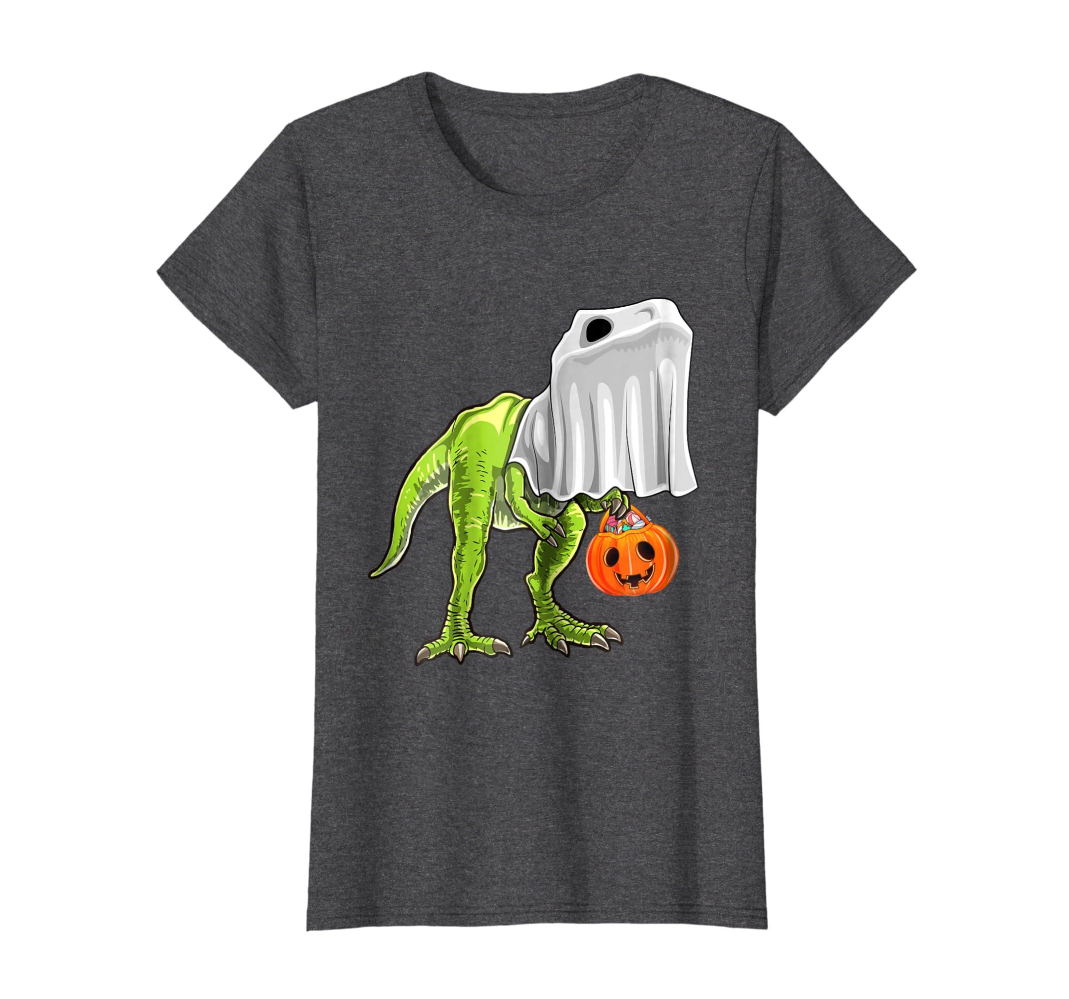 3bfbd6f4 Amazon.com: Halloween T Rex Dinosaur Ghost Trick or Treat Shirt Kids:  Clothing