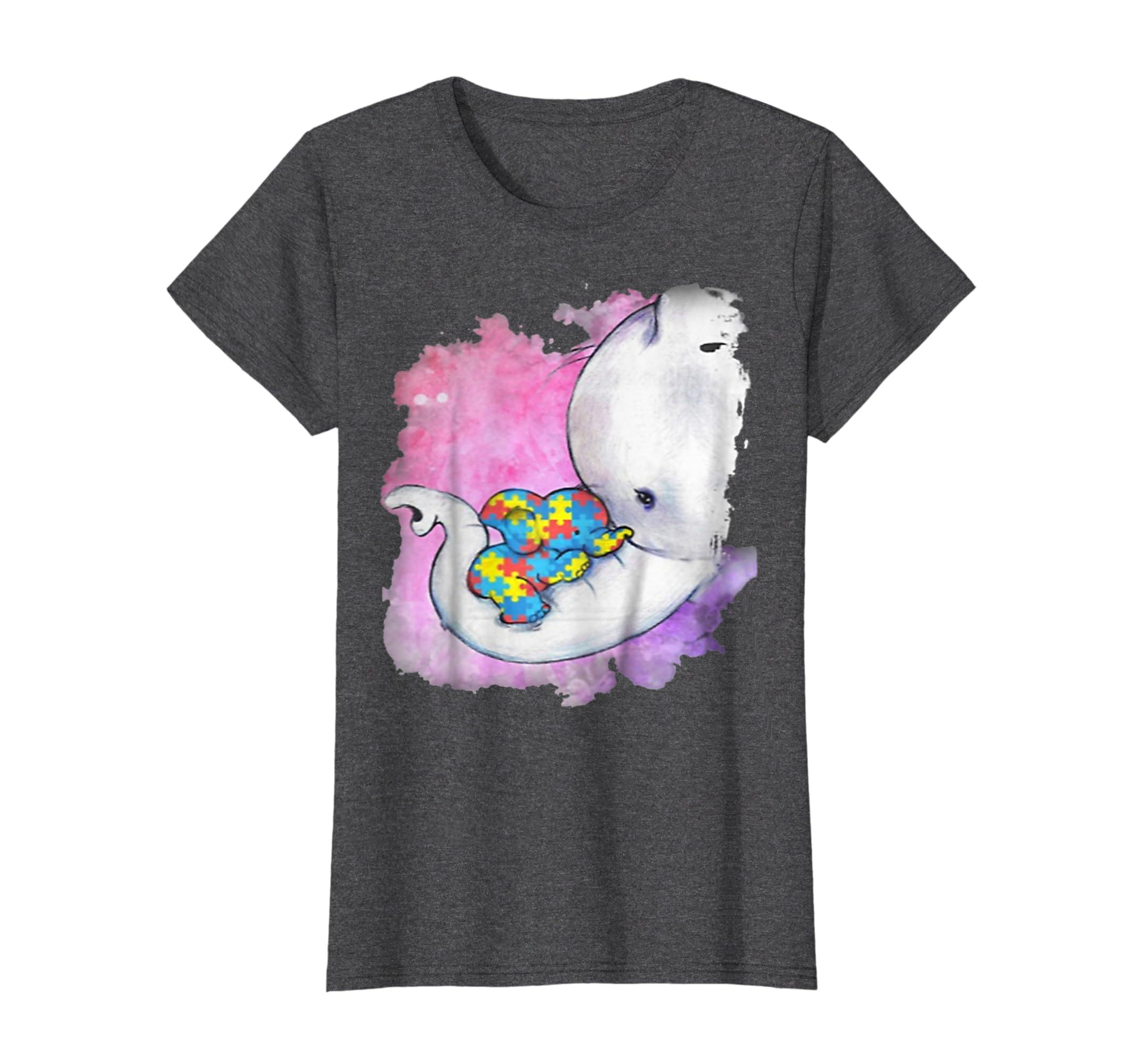 Autism baby elephant and mama T-shirt-Awarplus