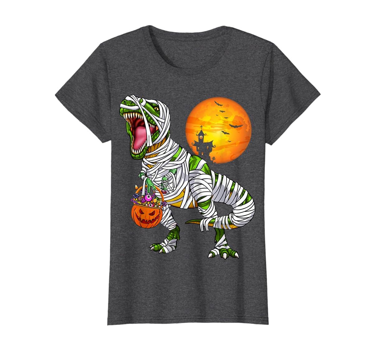 Halloween Gift For Boys Kids Dinosaur T rex Mummy Pumpkin T-Shirt-Women's T-Shirt-Dark Heather
