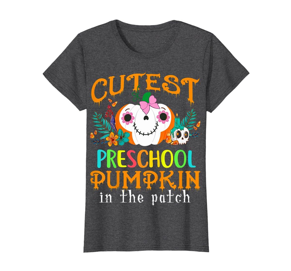 Kids Cutest Preschool Pumpkin In The Patch Halloween Costume Girl T-Shirt-Women's T-Shirt-Dark Heather