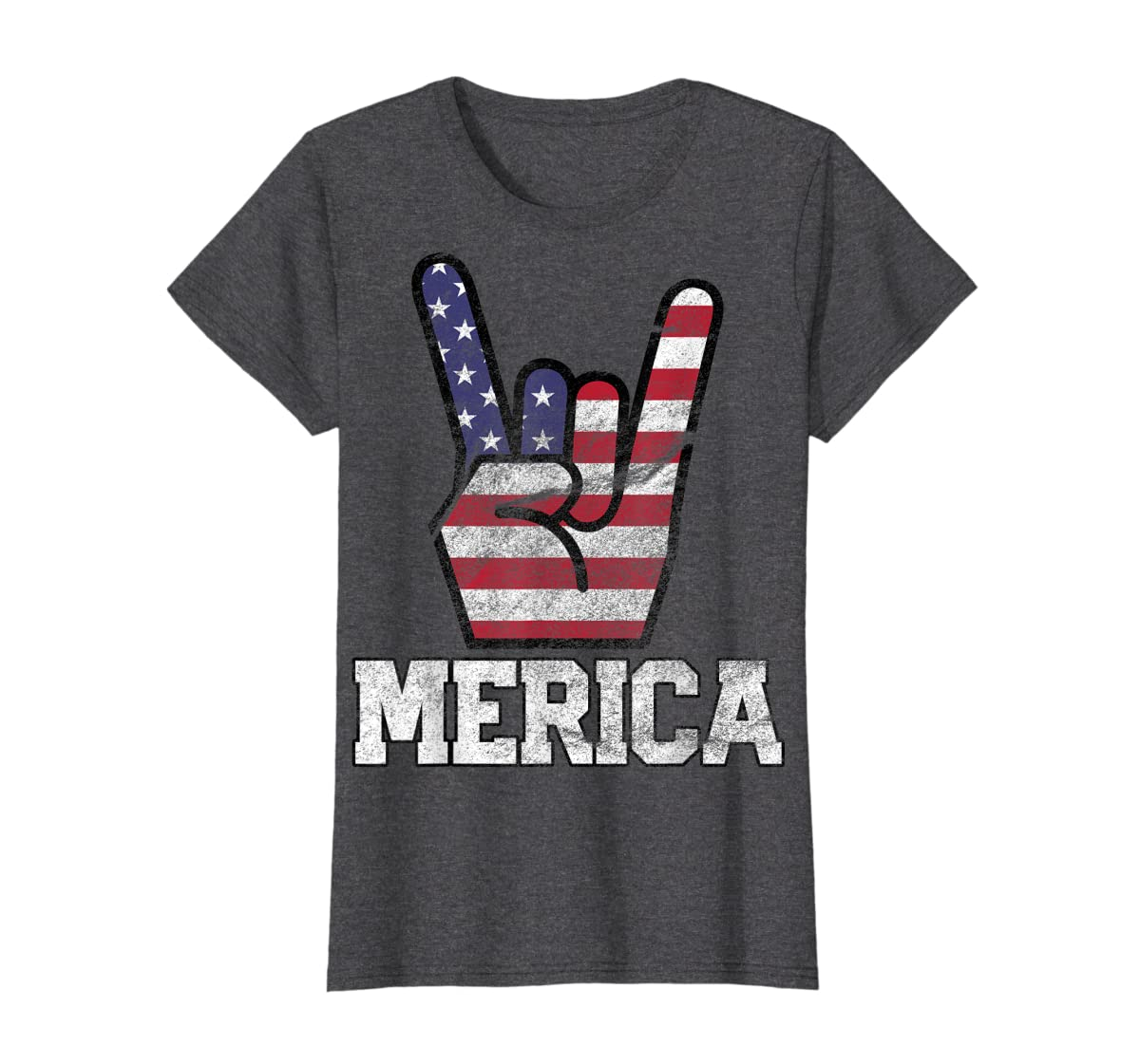 Merica Rock Sign 4th of July Vintage American Flag Retro USA T-Shirt-Women's T-Shirt-Dark Heather