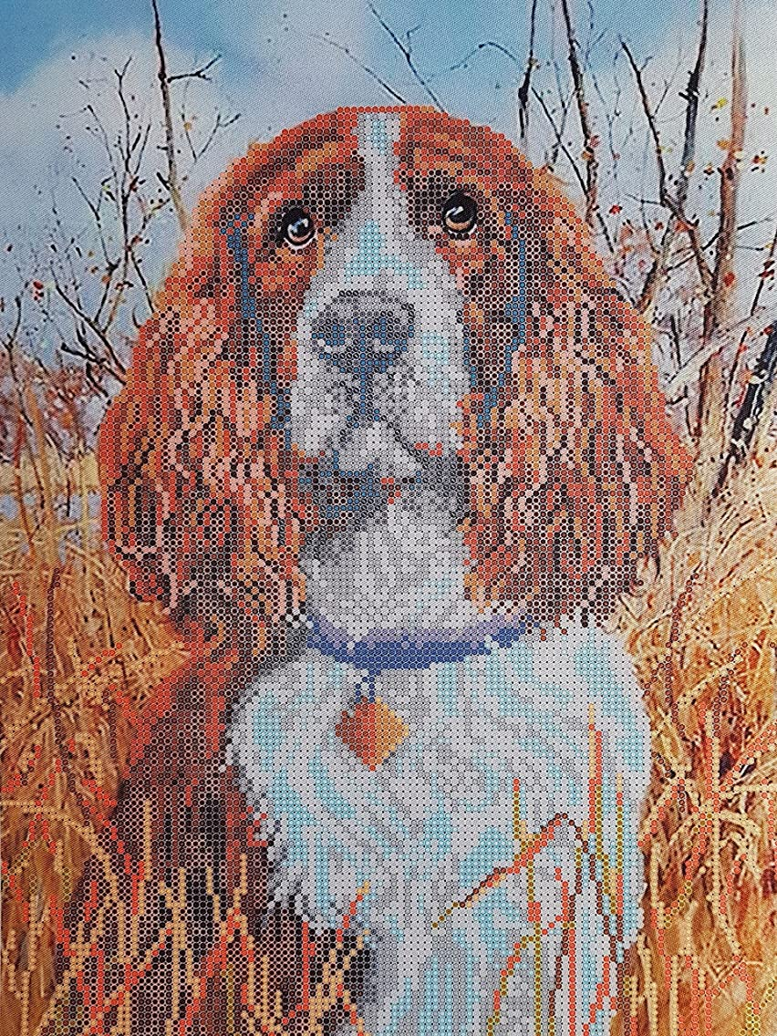 Spaniel Bead Embroidery kit, Pet Lover Gift idea, Dog Needlepoint Pattern, Beaded Cross Stich kit, Animal DIY Wall Art, Dog Handcraft kit