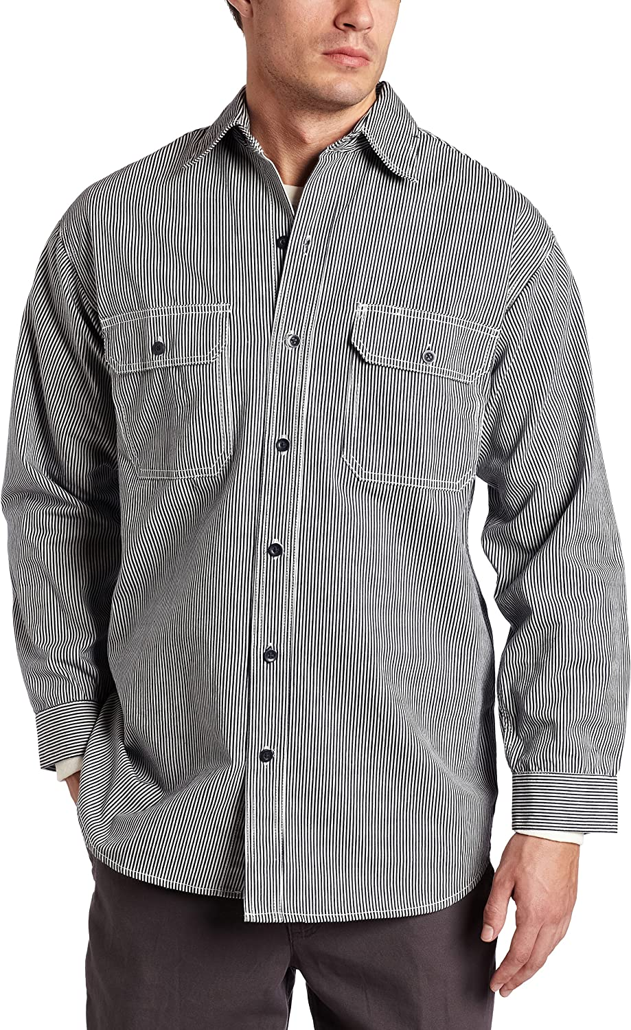 Key Industries Men's Big and Tall & Tall Long Sleeve Button Front Hickory Stripe Logger Shirt, 3X-Large/Tall