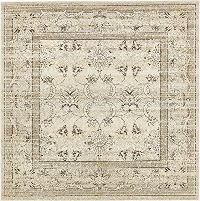 Unique Loom La Jolla Collection Tone-on-Tone Traditional Ivory Square Rug (8' 0 x 8' 0)