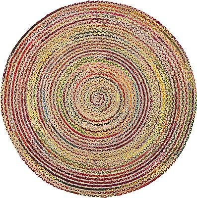 Anji Mountain Merida Cotton and Jute Rug, 6-Feet Diameter, Multi-Color