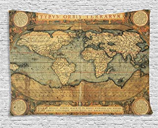 Ambesonne Wanderlust Decor Collection, 16Th Century Map Of The World History Adventure Boundaries Cartography Civilization, Bedroom Living Room Dorm Wall Hanging Tapestry, 80W X 60L Inch