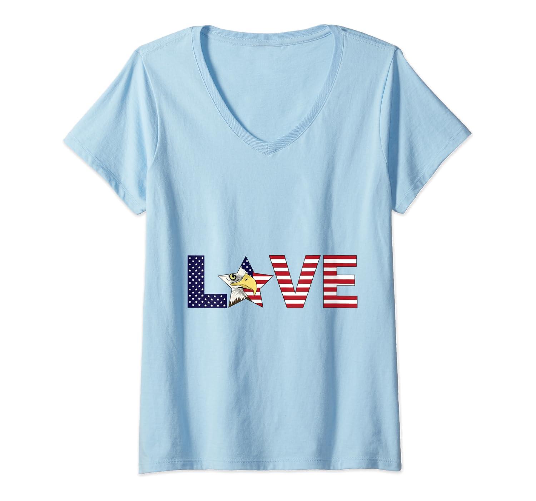 Love Bald Eagle Usa Flag 4th Of July American Pride Shirts