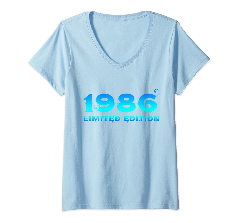 Donna 34 Anni Compleanno Ragazzo Uomo Donna Regalo Anno 1986 Maglietta con Collo a V