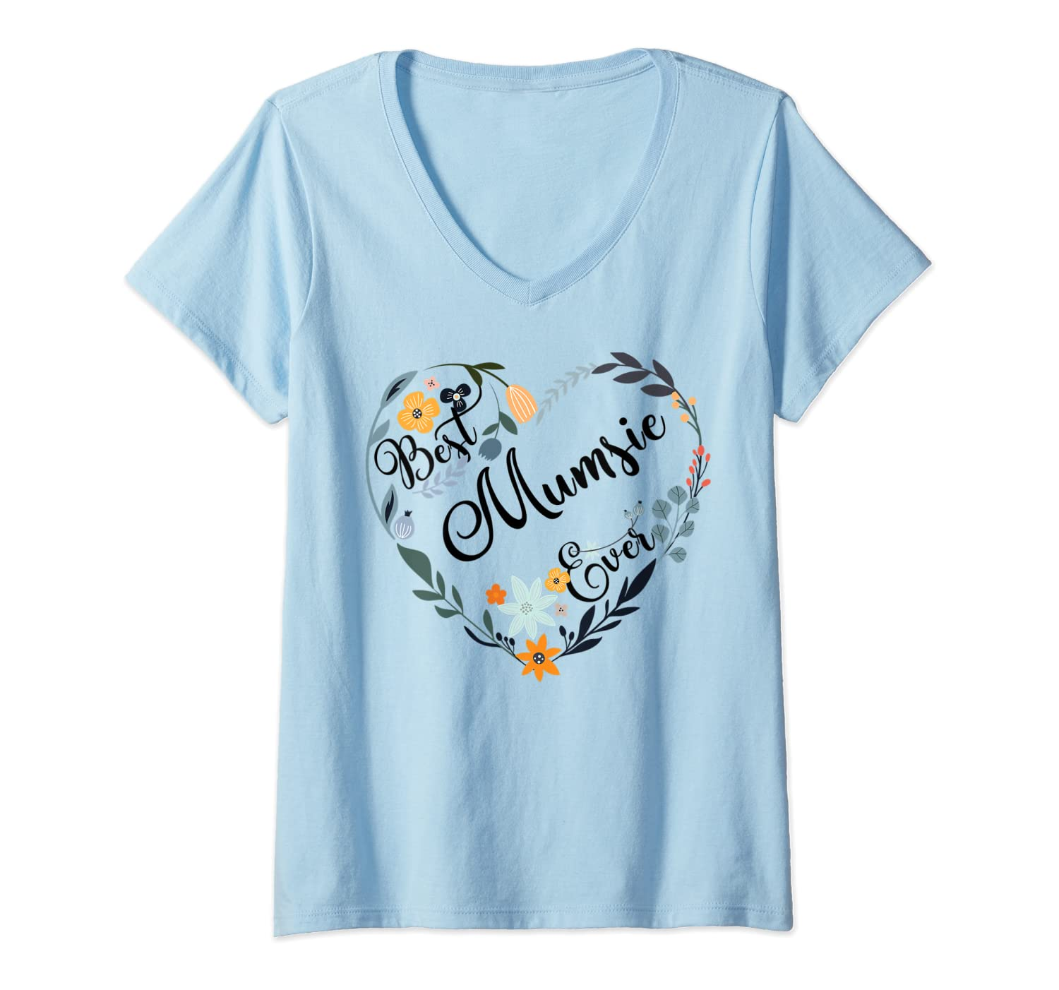 Best Mumsie Ever Heart Flower Blessed Grandma Mother's Day T-shirt