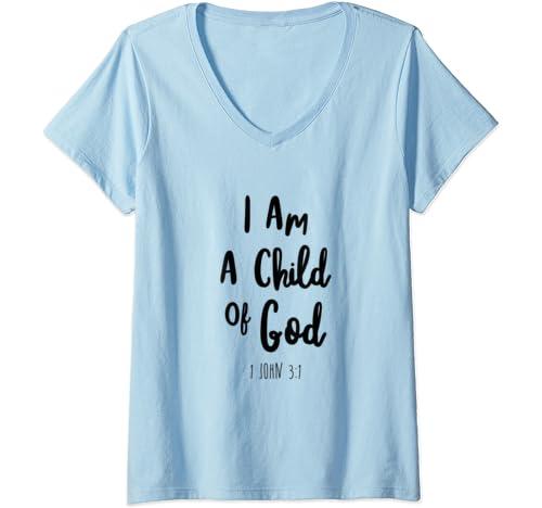 Womens I Am A Child Of God John Bible Verse Trust Lord God Jesus V Neck T Shirt