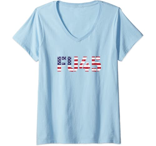 Womens Vintage Fu45 Fuck You Trump Anti Trump American Flag Impeach V Neck T Shirt