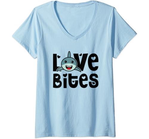 Womens Love Bites Valentines Day Shark Cute Funny V Neck T Shirt