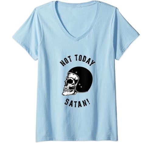 Womens Rockabilly Skull Not Today Satan Vintage Motorcycle Helmet V Neck T Shirt