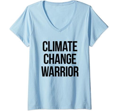 Womens Climate Change Warrior V Neck T Shirt