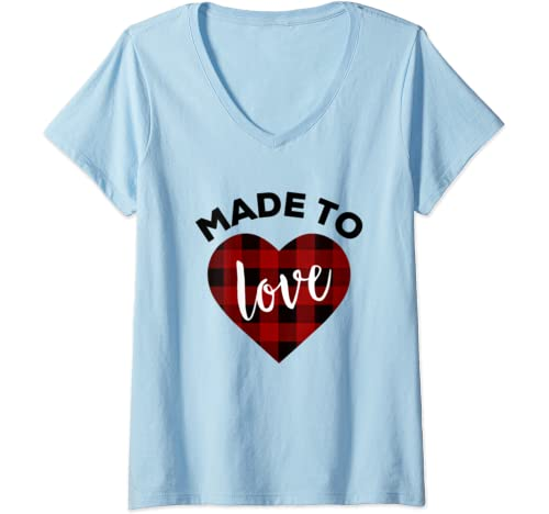 Womens Made To Love Shirt,Red Buffalo Plaid Heart Valentines Day V Neck T Shirt