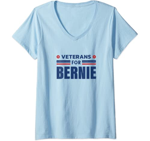 Womens Veterans For Bernie, Bernie Sanders 2020 President V Neck T Shirt