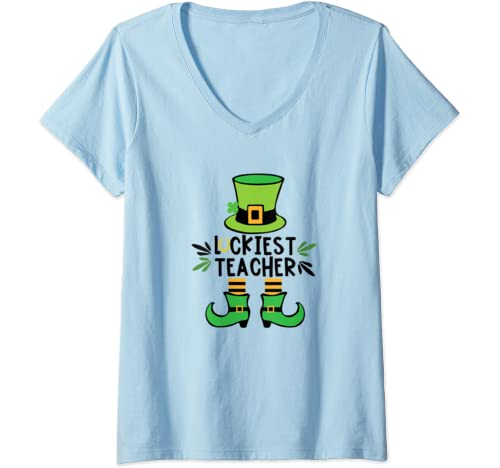 Womens Luckiest Teacher Ever Tshirt St Pattys Paddys Day Teacher V Neck T Shirt