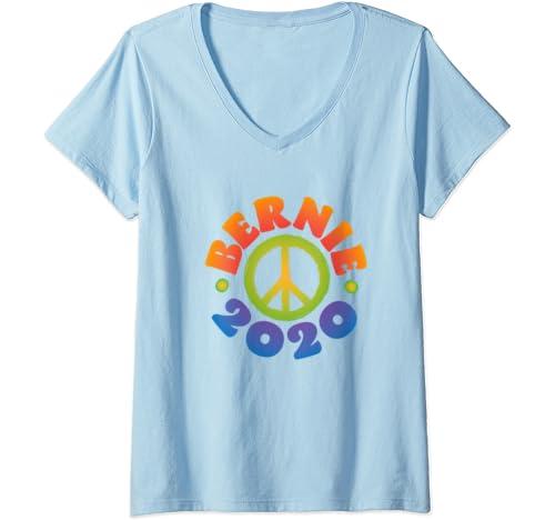 Womens Bernie For Peace, Bernie Sanders 2020 President V Neck T Shirt