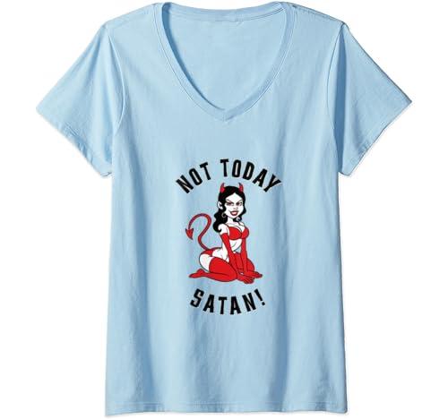 Womens Rockabilly She Devil Not Today Satan Vintage Old School Love V Neck T Shirt