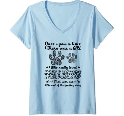 Womens There Was A Girl Who Really Loved Dogs And Tattoos Dog Owner V Neck T Shirt